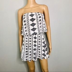 Black and white strapless smocked romper